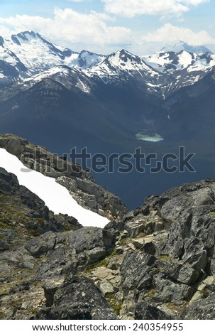 Whistler landscape with mountain and lake. British Columbia. Canada. Vertical