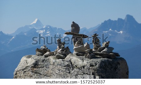 Whistler's Mountain with Stone Compositions in Foreground and Mount Robson, British Columbia, in Background, Jasper, Alberta, Canada
