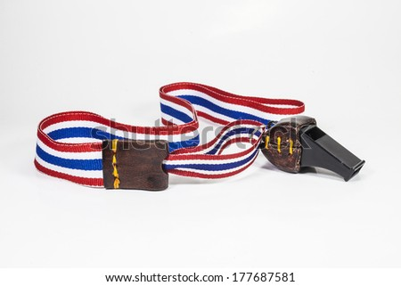 whistles with Thailand national flag lanyard on white background