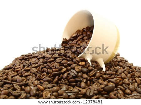 whit cup over a pile of fresh coffee beans