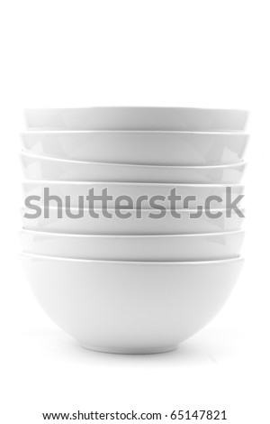 whit soup bowls isolated on white