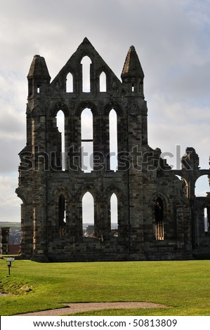 Whitby Abbey, North Yorkshire, England, United Kingdom. Founded in the year 657 AD by St Hilda.  Set atop a cliff above the Yorkshire town of Whitby. - stock photo