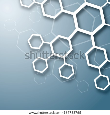 White abstract chemical molecule design on blue background