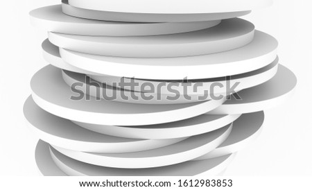 white abstract cylindrical pancakes concept of instability of space 3d rendering