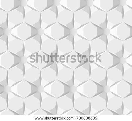 White abstract hexagonal geometric pattern. Origami paper style. 3D rendering background.