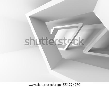 White Abstract Modern Architecture Interior Background. 3d Render Illustration