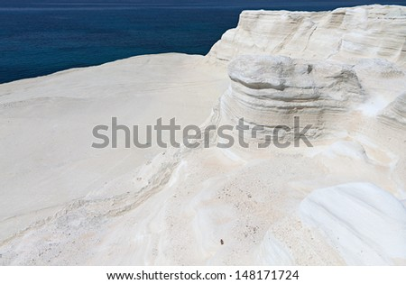 White abstract rock formations at Mylos island in Greece Area of Sarakiniko
