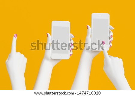 White abstract woman hand set holding cellphone isolated on yellow, female hand statue interaction smartphone. 3d illustration.