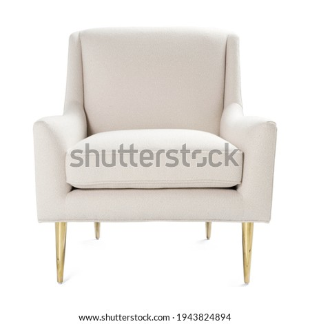 White Accent Chair Isolated on White. Front View of Wingback Armchair. Modern Upholstered Cushy Lounge Arm Chair Gold Brass Legs. Armrests Club Chair. Interior Sofa Set. Living Room Furniture