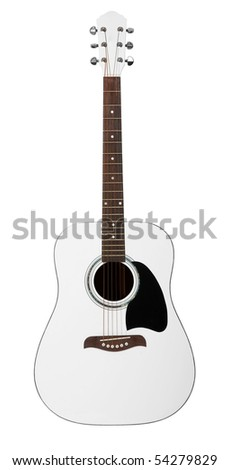 White acoustic guitar isolated on white background