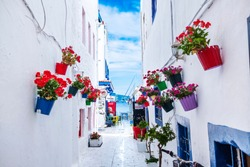 White Aegean Street, Bodrum / Turkey - June 2019: Colorful traditional aegean white street in Bodrum, Turkey.