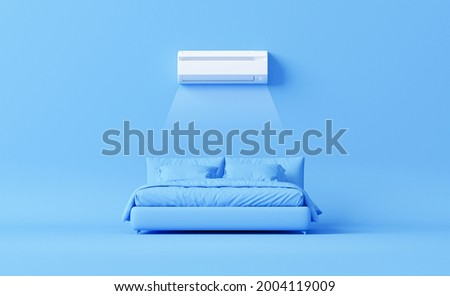 White air conditioner and bed on pastel blue background. Control air conditioner concept, split system air conditioning. Cool and cold climate control system. Minimalism concept. 3d render