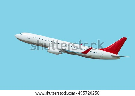white airplane on a blue background, side view