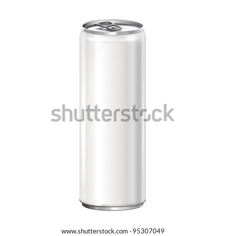 White aluminum can on white background.