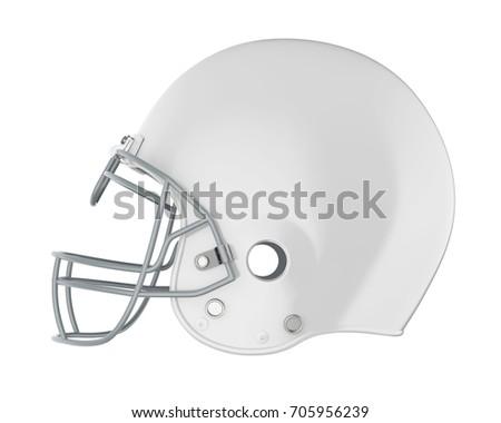 White American Football Helmet Isolated. 3D rendering