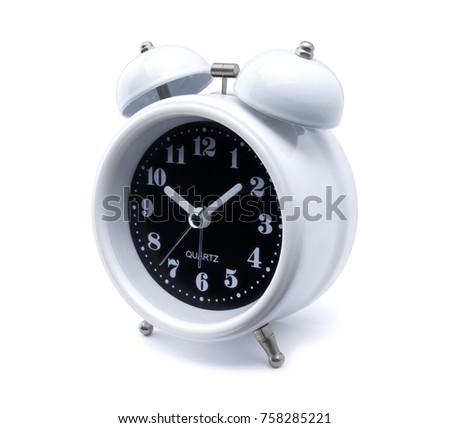 white analog alarm clock. Time concept with Old fashioned alarm clock or watch on white background. Metal bell vintage alarm clock in retro style isolated with clip path - easy to die cut out