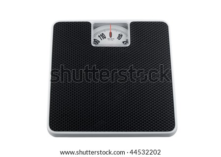 White analog bathroom scale isolated on white, showing zero kilograms
