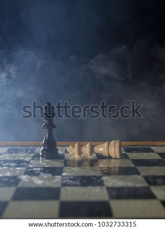 white and black kings on a chessboard at the end of the battle, with smoke and fog. win and lose concept #1032733315