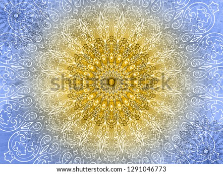 White and black Mandalas on a blue and yellow background