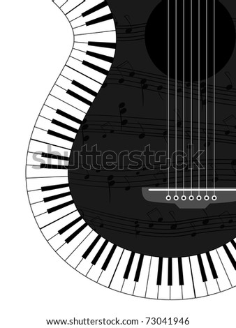 White and black musical background