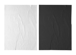 white and black paper wrinkled poster template , blank glued creased paper sheet mockup. white and black poster mockup on wall. empty paper mockup. clipping path