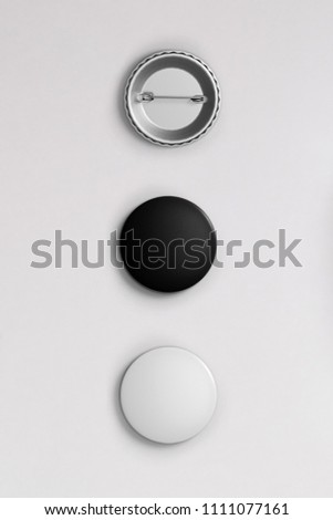 White and black pin button. Pin button set. Collection of realistic pin buttons. White blank badge pin brooch isolated on white background.