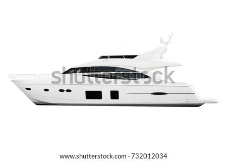 white and black yacht motor boat isolated on white background.