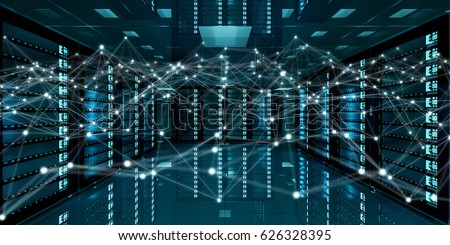 White and blue abstract network on server room data center 3D rendering #626328395