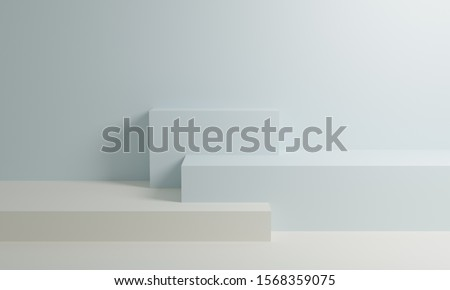 White and blue booth 3D rendering background wall, can be used for banner design items display background