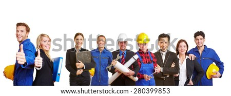 White and blue collar worker as a team holding thumbs up #280399853