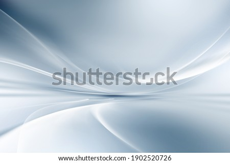 White and blue fantastic background. Futuristic room perspective wavy design.