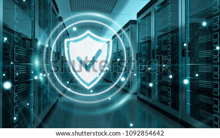 White and blue firewall activated on server room data center 3D rendering Stock photo ©
