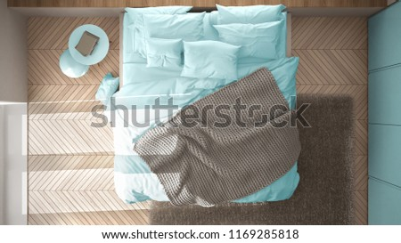White and blue minimalist bedroom with parquet floor, fur carpet and soft blanket, modern architecture interior design, top view, 3d illustration #1169285818