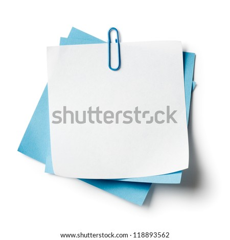 White and blue note papers with paperclip on white background