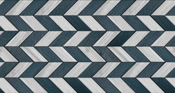 White and blue parquet with geometric pattern. Wood texture for background. Wooden wall art.