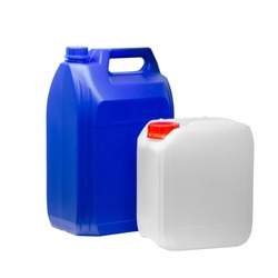 White and blue plastic jerrycan canisters in a row isolated on white background for web banner