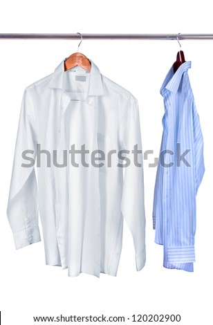 white and blue shirts on wooden hanger isolated on white