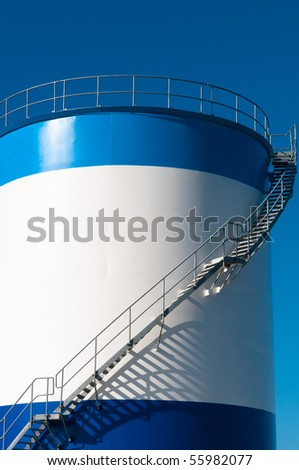 white and blue silo