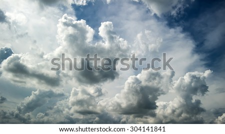 White and blue sky,Beautiful Blue Sky On a rainy day in thailand