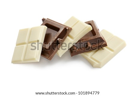 white and brown chocolate blocks, on white background