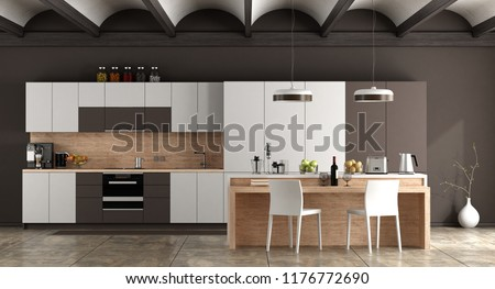 White and brown contemporary kitchen with arched ceiling and cement floor - 3d rendering stock photo