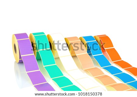 White and colored label rolls isolated on white background with shadow reflection. Color reels of labels for printers. Labels for direct thermal or thermal transfer printing. #1018150378