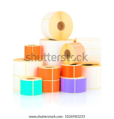 White and colored label rolls isolated on white background with shadow reflection. Color reels of labels for printers. Labels for direct thermal or thermal transfer printing. #1026983233