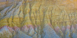 White and colored sedimentation in the Provencal Colorado in Rustrel in the region of Provence, France
