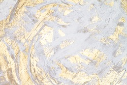 White And Gold Oil Painted Abstract Work, Rustic Acrylic Colors, Brush Painted Texture, Background Texture, Space For Copy