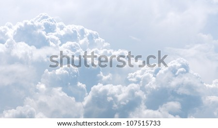 White and gray clouds in blue sky.