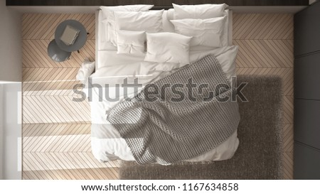 White and gray minimalist bedroom with parquet floor, fur carpet and soft blanket, modern architecture interior design, top view, 3d illustration #1167634858