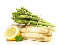 White and Green Asparagus isolated on white Background