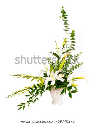 White and green flower bouquet arrangement in vase isolated on white.
