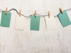 White and green memo cards with copy space